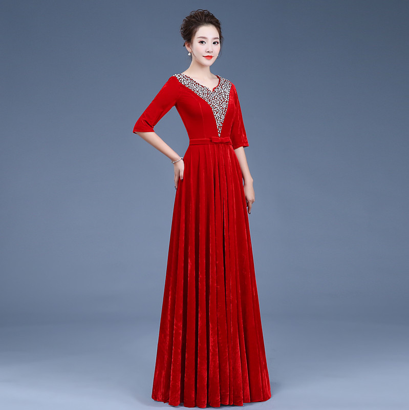 Image 3 - Gold velvet chorus dress costume female dress new adult Slim middle aged choir command service-in Chinese Folk Dance from Novelty & Special Use