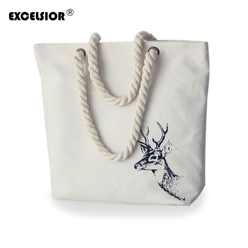 EXCELSIOR  Famous brands women handbags Literature Printing Canvas Tote Female C