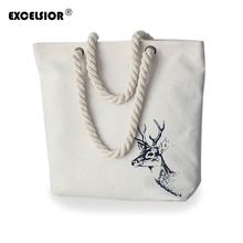 EXCELSIOR 2016 Famous brands women handbags Literature Printing Canvas Tote Female Casual Beach Bags Handbags Shoulder Tote Bag