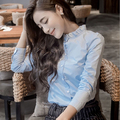 2017 Newest Women Spring Cotton OL Work Blouse Lady Long Sleeve Ruffled Shirts With Plue Size Student Style Slim Blouses Shirts