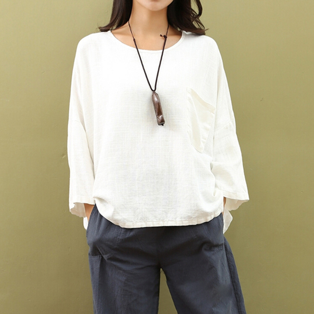 589bfb74 White Blouse Women Loose Cotton Linen Blouses Plus Size 3XL Chinese Style  Casual Solid Color Shirts O-Neck Blusas Autumn 2017
