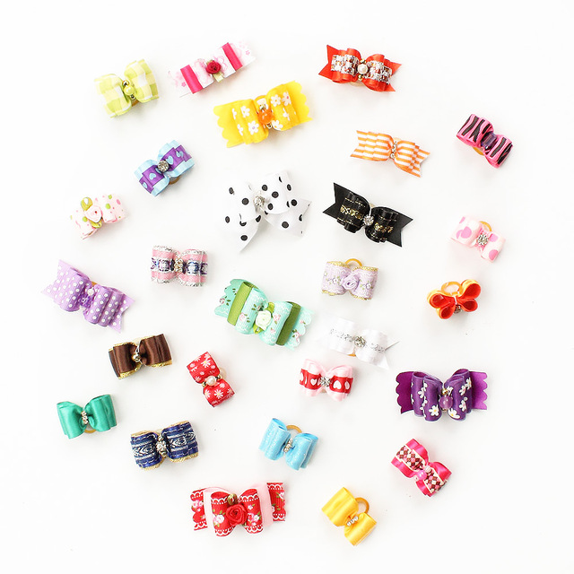 60 Pcs Wholesale Handmade Dog Bow For Small Dogs 6011027 Pet Grooming Hair Bows Accessories Products
