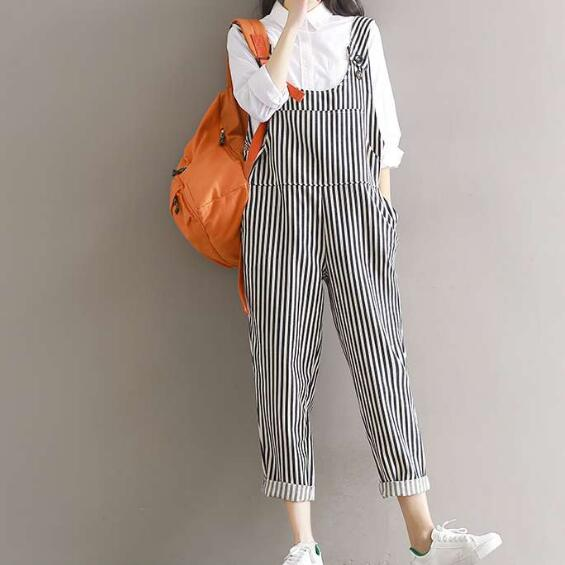US $35 25  Mori Girl Style Trousers 2019 New Fall Fashion Literature Female  Autumn Cotton Jumpsuit Women Stripe Rompers with Pockets AH254-in