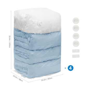 4 PCS Cube Vacuum Storage Bags Jumbo Extra Large Compressed Space Saver Bags for Pillows for Comforter Work with All Cleaner