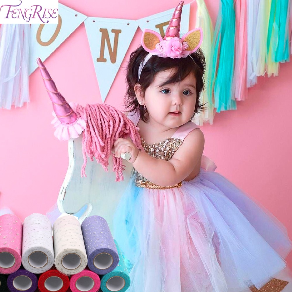 FENGRISE 10/25 բակ 15 սմ Glitter Tulle Roll Sequin Organza Spool Tutu Wedding Deco DIY Craft Unicorn Ծննդյան երեկույթի պարագաներ