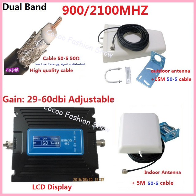 Gain adjustable dual band GSM 900Mhz +3G WCDMA 2100Mhz mobile signal booster repeater amplifier kits w/ cable 50-5 & gsm antenna