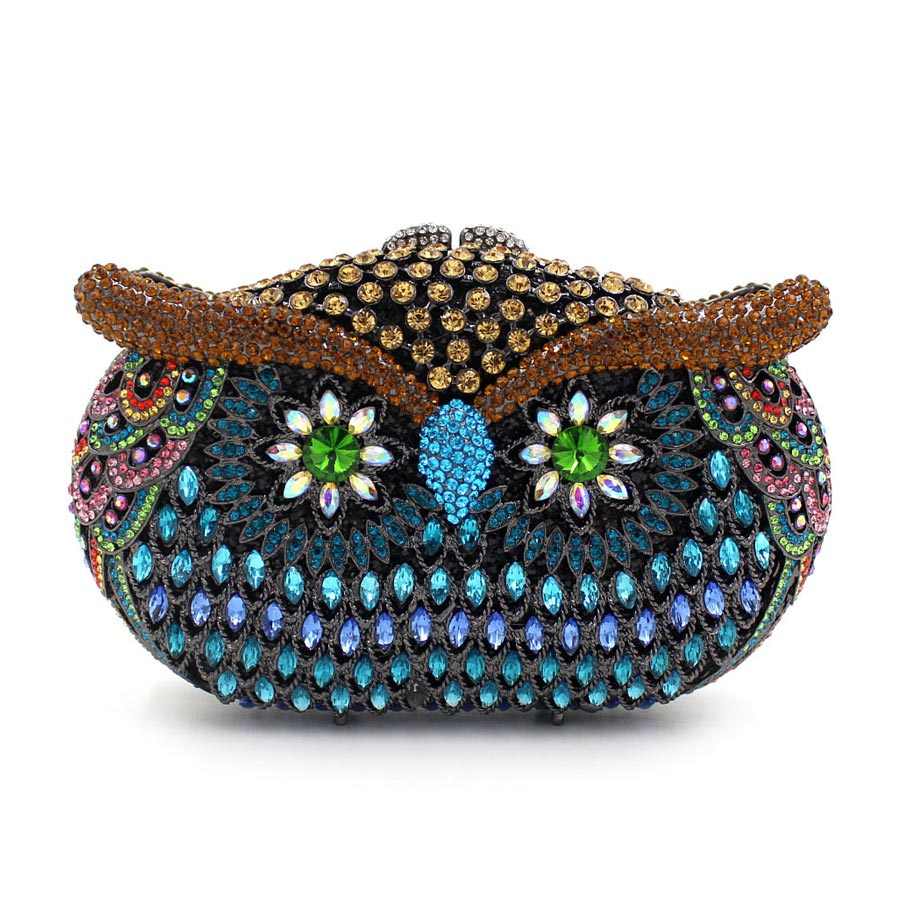 Woman owl purses and handbags women evening clutch ladies chain bag fashion mini handmade party purses female rhinestone box bag fashion box evening bag oil painting flower black lock clutch bag strap mini tote bag ladies purse trunk white women handbags