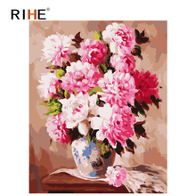 RIHE Pink Flower DIY Framed Oil Painting By Numbers, Coloring By Numbers, Modern Wall Art Picture,Home Decoration 40x50cm rihe exquisite rose flowers framed oil painting by numbers coloring by numbers modern wall art picture home decoration 40x50cm