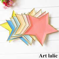 8 pièces Coloré Feuille D'or Étoiles Assiettes En Papier Décoration De Fête Vaisselle Jetable Assiette En Papier pour Le Dîner Gâteaux Fournitures De Fête