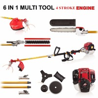 2017 New Quality 6 in 1 Multi tool Brush cutter 4 stroke GX35 Engine Petrol strimmer Grass cutter Tree Pruner hedge trimmer