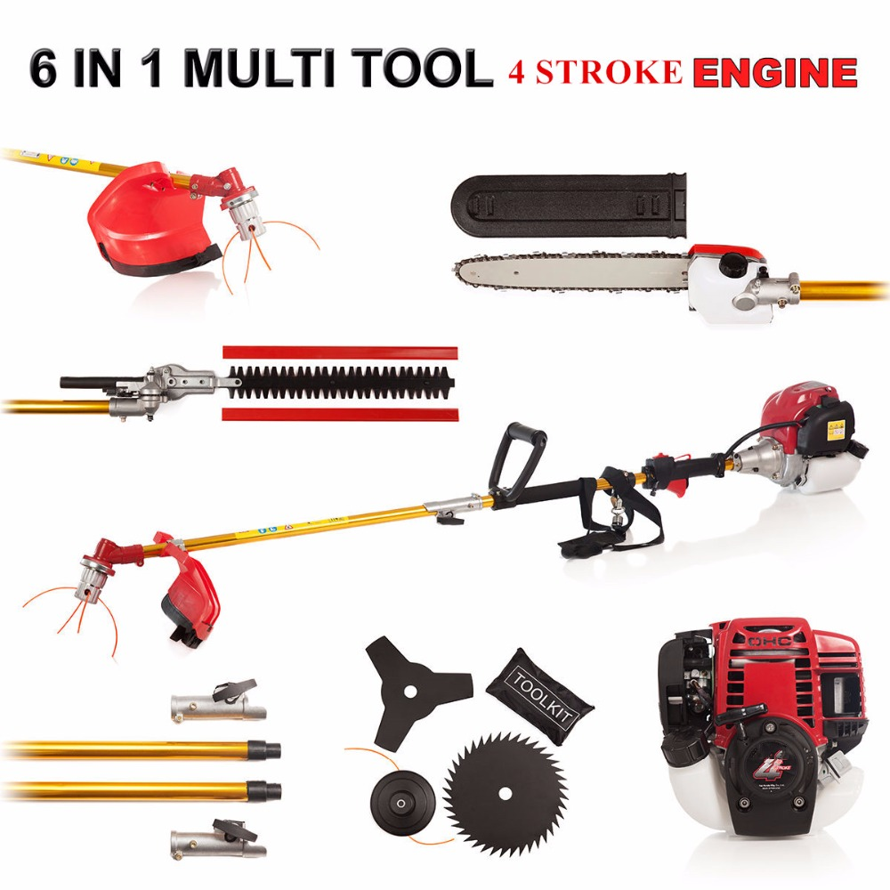 2019 New Quality 6  In 1 Multi Tool Brush Cutter 4 Stroke GX35 Engine Petrol Strimmer Grass Cutter Tree Pruner Hedge Trimmer