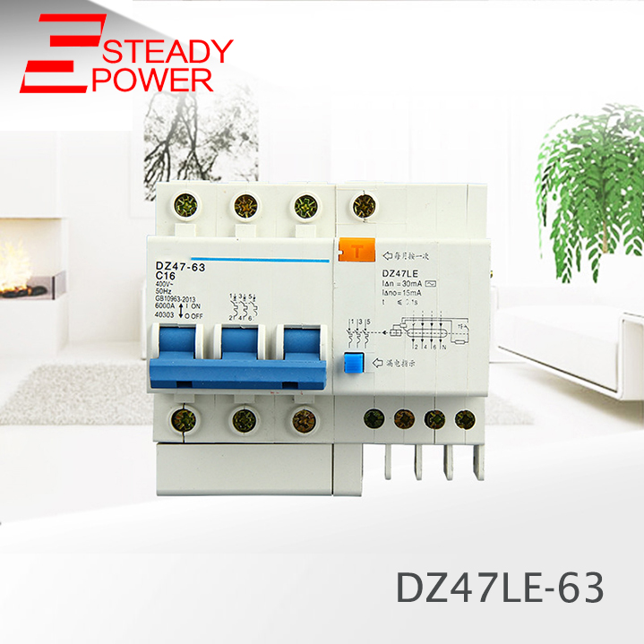 DZ47LE-63 3P 4P 6A 10A 16A 20 25 32 40 50 63A 50HZ Residual Current Circuit Breaker Over Current Leakage Protection RCBO dz47le 3p n 63a 400v 50hz 60hz residual current circuit breaker with over current and leakage protection rcbo