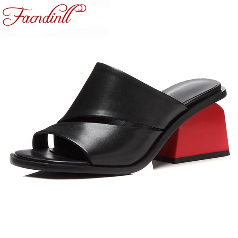 FACNDINLL women sandals 2018 new summer genuine leather shoes fashion open toe female  shoes biack white high heels shoes woman facndinll new genuine leather summer