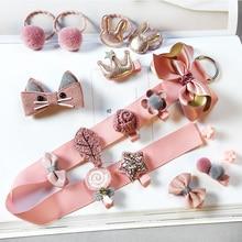 18pcs/set Gift Box Kid Fashion Hair Accesories Hairpin Headband Baby Girls Hairclip Barrette to baby girl gift