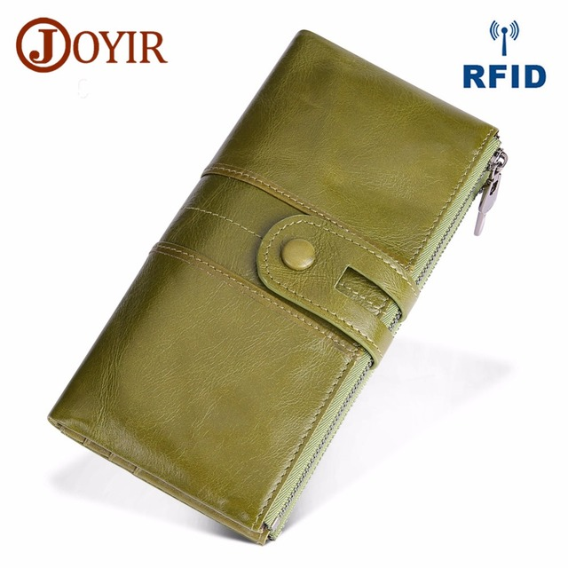 JOYIR Design Unisex Women Clutch Wallets Genuine Leather Male Women's Long Wallet Zipper Purse Coin Purse Money Phone Bag RFID