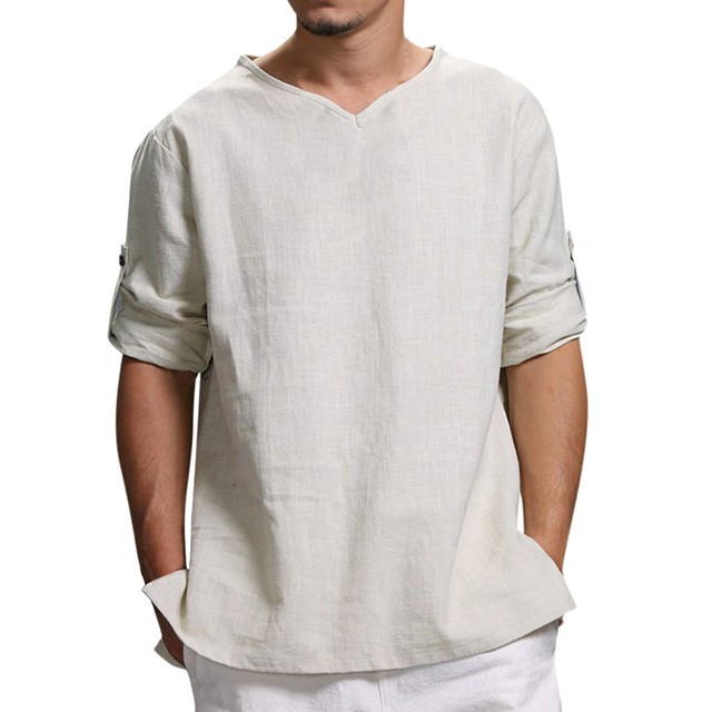 Men's Summer New Pure Cotton And Hemp Top Comfortable Fashion Blouse Top