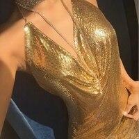 2017 Sexy Women Summer Dress Fashion Sequined Deep V Neck Backless Celebrity Gold Silver Halter Beach