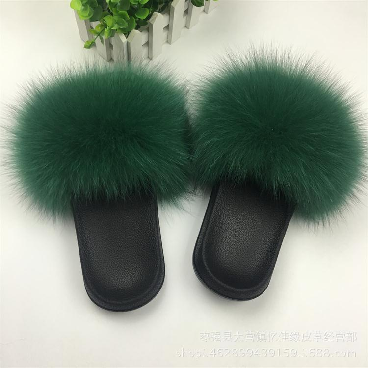 Image 4 - Winter Women's Indoor Fluffy Soft Fox Fur Pompoms Slippers Furry Real Fur Home Sliders Plush Flats Ladies Casual Shoes Zapato-in Shoes from Novelty & Special Use