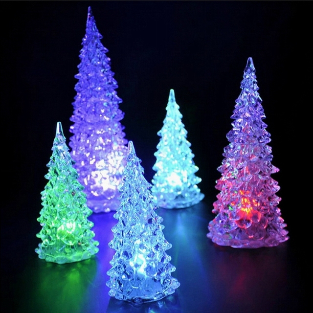 free shipping seven color allochroism flash lighting acrylic romantic christmas tree small night light mini home
