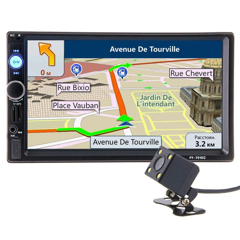 2 din 7 pouce HD Autoradio GPS Navigation Lecteur Caméra Bluetooth AUX MP3 MP5 Stéréo FM Audio USB Auto électronique 2din Autoradio