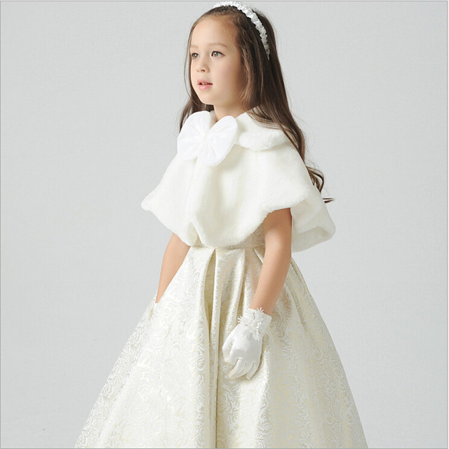 Satin Flower Girls Dress With Faux Fur Cape Ankle Length Kids ...