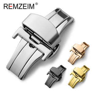 Stainless-Steel Strap-Button Watch-Band Deployment-Buckle 20mm Butterfly Double-Click