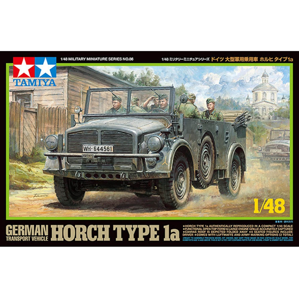 OHS Tamiya 32586 1/48 German Transport Vehicle Horch Type 1a Military AFV Assembly Model Building Kits oh tobyfancy tamiya 1 35 ww2 german steyr type 1500a 01 military miniature ready to assembly model kit