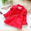 Nuevo 2015 otoño primavera ropa de niños niñas moda tapa del bebé ropa de capa de la rebeca del niño niños solos chaqueta roja