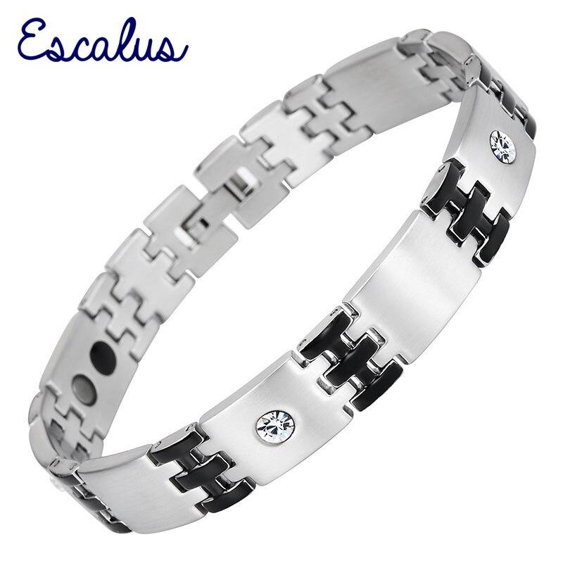 Escalus браслет магнитный браслет кристалл Нержавеющаясталь звено цепи черный, серебристый цвет Ионные Покрытие унисекс браслет Шарм