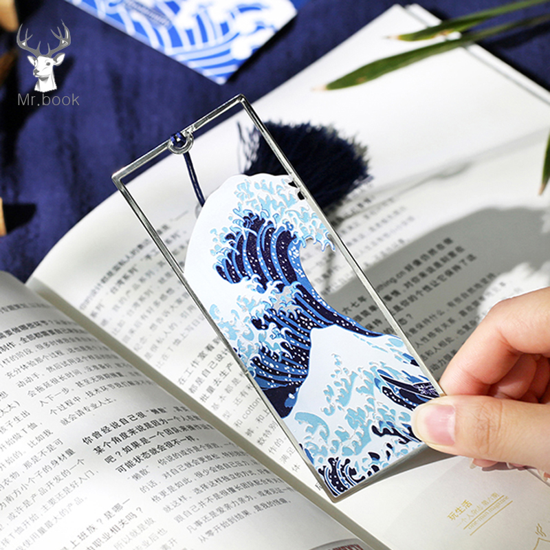 Japanese Style Vintage Metal Bookmark Hokusai The Great Wave Off Kanagawa Pictures Long Tassel Book Mark School Office Supplies