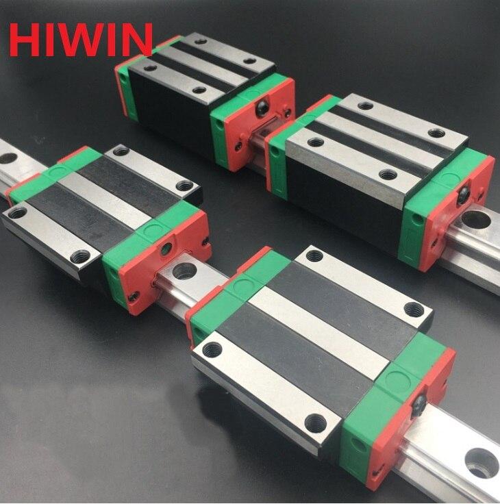 2pcs 100% original Hiwin linear rail guide HGR20 -L 1100mm + 2pcs HGH20CA and 2pcs HGW20CA/HGW20CC block CNC router