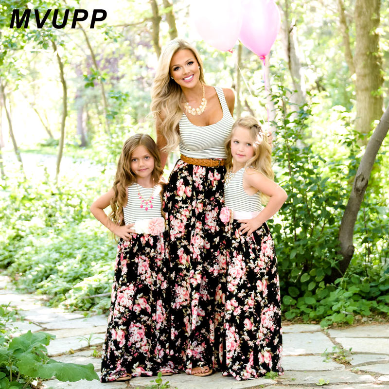 MVUPP Mommy and me family matching mother daughter dresses clothes striped mom daughter dress kids parent child outfits look mommy and me mother daughter wedding dress clothes baby maxi dresses family princess party clothing mom and daughter dress blue