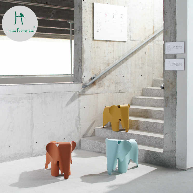 Louis Fashion Creative Children Chair Household Plastic Elephant Cartoon Fashion Kindergarten Color Toy Stool