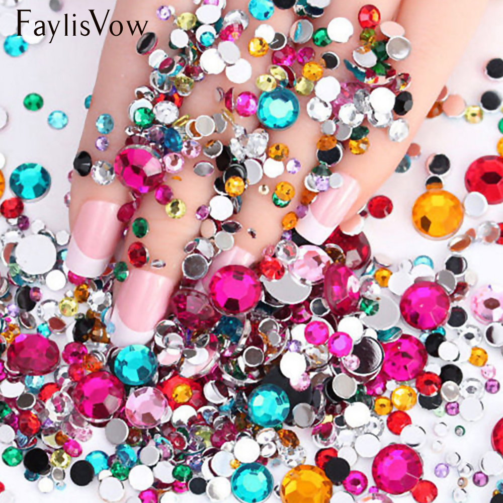 2000Pcs Nail Rhinestones Colorful Crystal Mixed Size Flat-back Nail Studs Glitter Diamonds Manicure Nail Art Decorations 1 Bag 1 pack mixed size crystal ab colorful nail art rhinestones flat back 3d glass nail glitter decorations diy manicure accessories