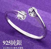 Nouveauté 925 pur argent sterling cristal dames 'anneau ouvert femelle pinky bague en gros livraison directe pas de décoloration de noël