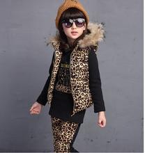 Горячая! 2016 высокое качество новый прилив хан издание костюм девушек детская зима мода леопардовым принтом ватки отдыха три костюмы