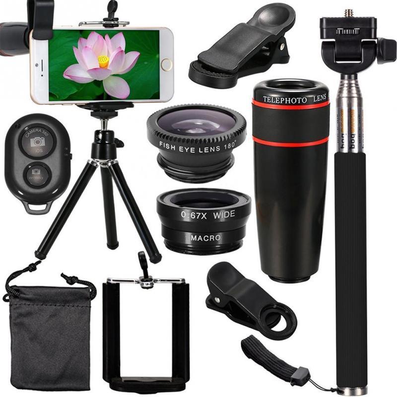 Tout en 1 Accessoires Téléphone Caméra Lentille Supérieure Trousse De Voyage Pour Téléphone Intelligent iPhone Samsung HTC HUAWEI