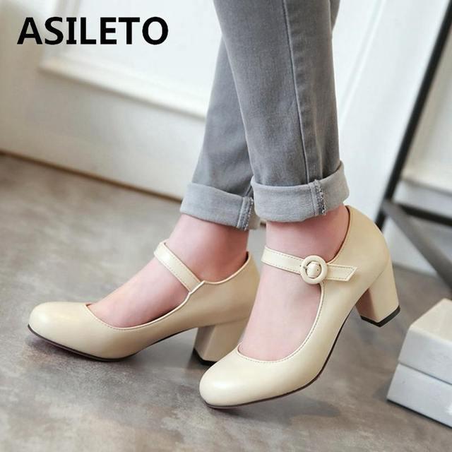 8dc1732018 ASILETO block High Heels beige Wedding shoes for bride strap Pumps women  mary janes stiletto large size 43 dress footwear S309