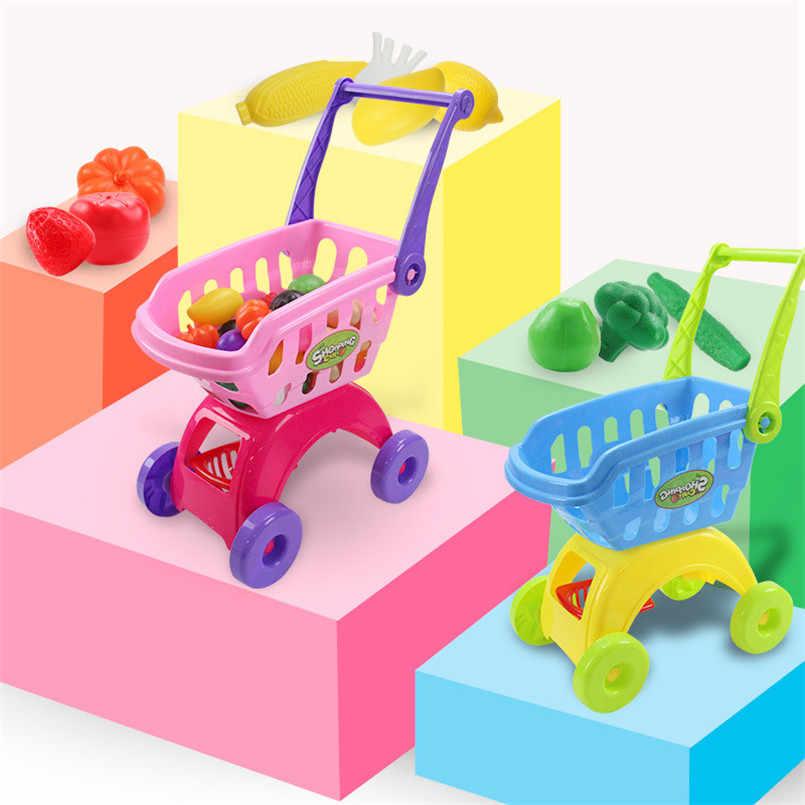 25 Teile/satz Kinder Supermarkt Einkaufen Lebensmittel Warenkorb Trolley Spielzeug Für Mädchen Küche Spielen Haus Simulation Obst Pretend Baby Spielzeug