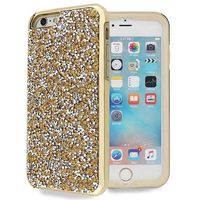 Diamant Glitter Cas pour Iphone X 8 7 Plus Hybride Antichoc Téléphone cas pour Apple Iphone 8 7 6 s Plus SE 5S Silicone Briller couverture