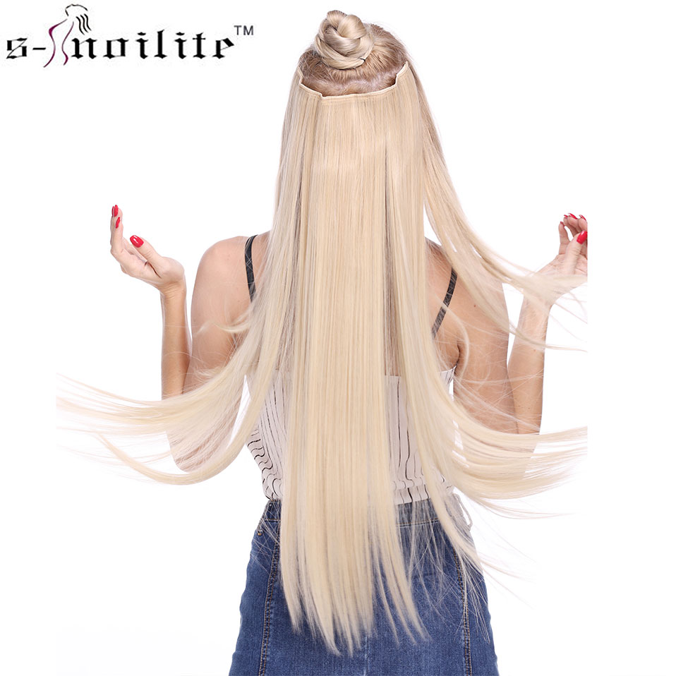 SNOILITE Fall to waist 46-76 CM Longest Clip in One Piece Hair Extensions Natural Straight Synthetic 5 Clips Hairpiece for women
