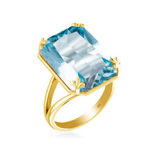 Szjinao New product  925 Sterling Silver gold Ring for Women Square Blue Big Aquamarine Wholesale silver 925 jewelry szjinao cute genuine 100