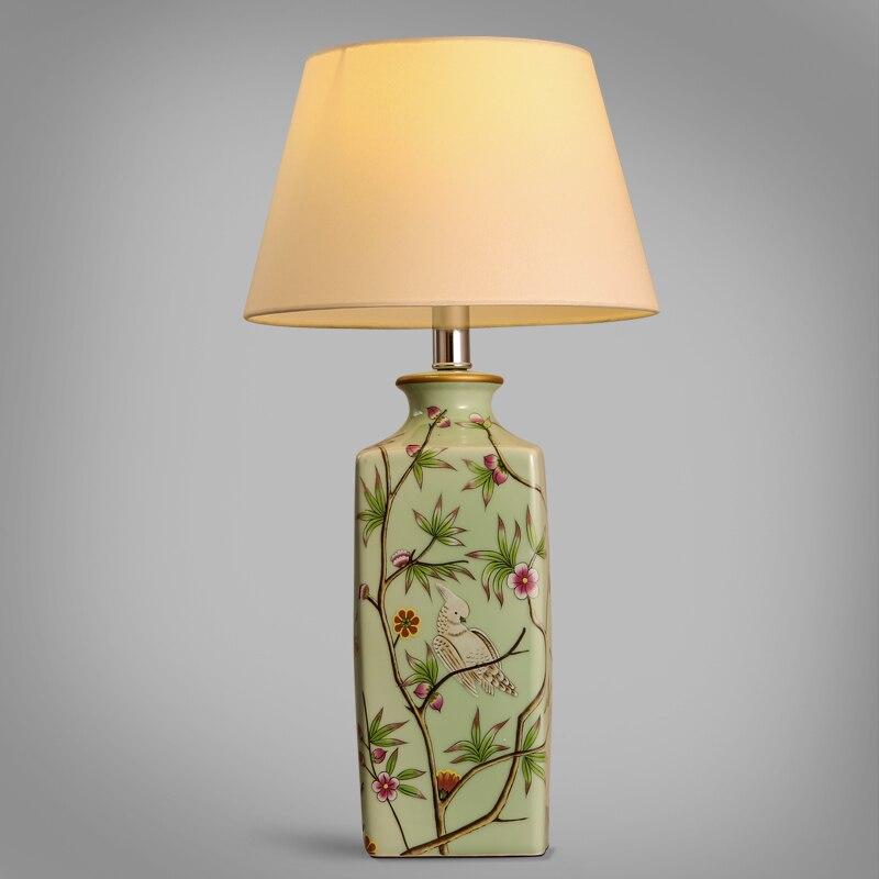 Современный китайский керамический классическая настольная лампа теплый и элегантный спальня ночники декоративные ткани Art лампа настоль...