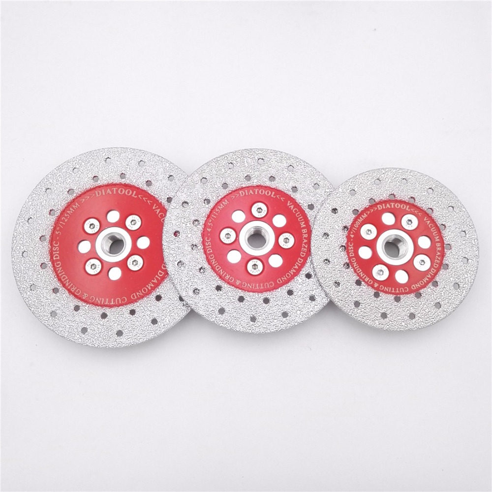DIATOOL Double Sided Vacuum Brazed Diamond Cutting Grinding Disc M14 Thread Cutting Shaping Polishing Stone  Porcelain Wheels