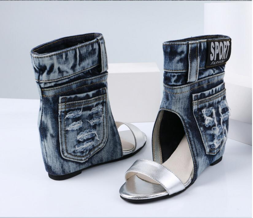 Blue Denim Water Wash Ankle Boots Fashion Wedges Heels Pumps Cowboy Peep Toe Sandals Shoes High Heels Jean Free Shipping