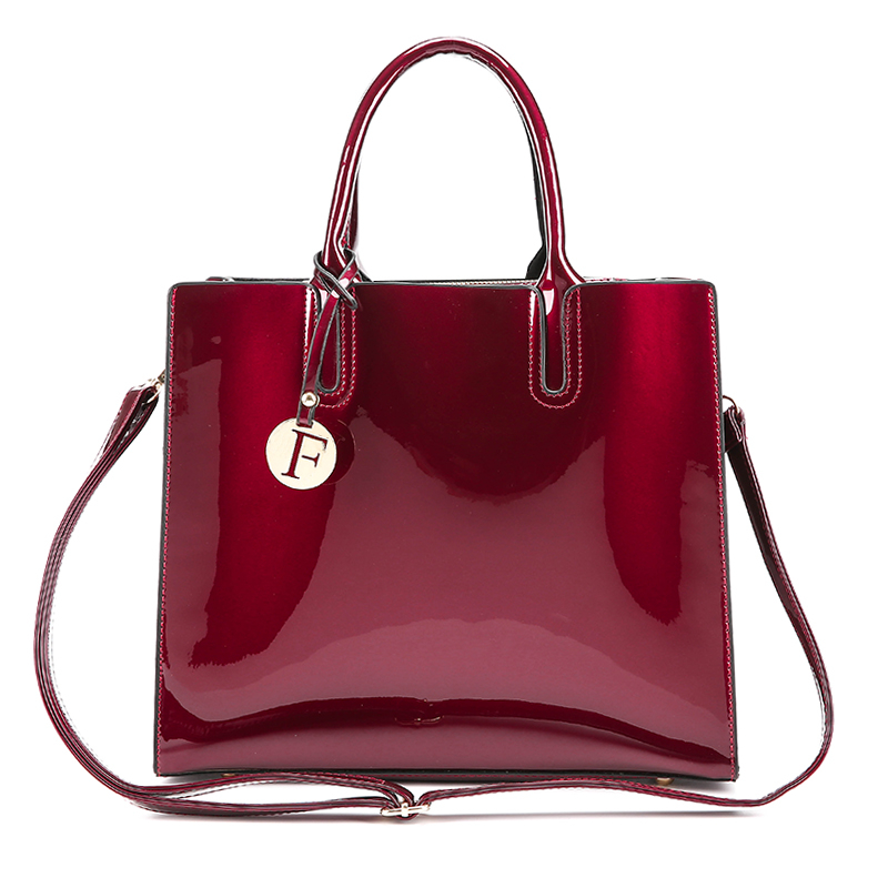 3 Sets High Quality Patent Leather Women Handbags with Luxury Brands
