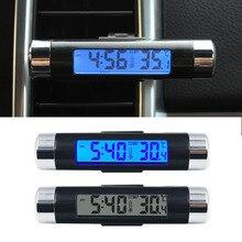Цифровой термометр для автомобиля, цифровые ЖК-часы, цифровой термометр для автомобиля, наружный термометр, 2 в 1, светодиодный цифровой термометр для автомобиля