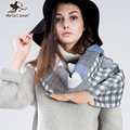 [Marte&Joven] 195*65 cm Za Tartan Scarf for Women Winter Plaid Wrap and Pashmina Ladies Warm Checked Blanket Shawl New Design