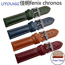 New arrival quality genuine leather watchband 22mm colorful leather wristband quick release for Garmin Fenix chronos