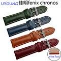 Nova qualidade chegada genuína pulseira de couro 22mm de couro colorida pulseira de liberação rápida para garmin fenix chronos